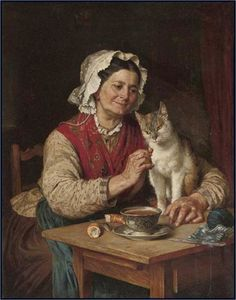 Taking a break from sock knitting, and sharing a bit of bread with the Good Cat -- By Carl Von Blaasvia