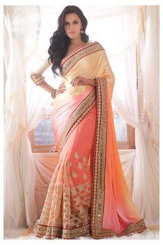 Cream Net Designer Saree