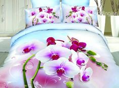 New Arrival 100% Cotton Pink Orchid Print 4 Piece Bedding Sets  @bedding inn