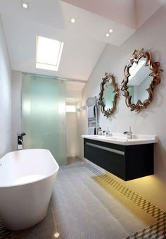 Bathroom Mirror Ideas Double Vanity bathroom mirror with shelf | bathroom - lighting over mirror
