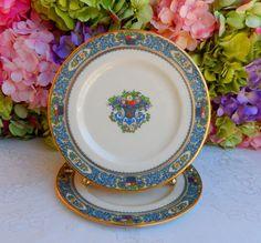 2 Beautiful Lenox Porcelain Salad Plates ~ Autumn ~ Enamel Fruit ~ Scrolls #Lenox