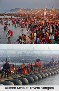 Triveni Sangam is the convergence of three major Indian rivers, namely the Ganga, the Yamuna and the legendary Saraswati River near Allahabad, India. For more visit the page. #allahabad #ganga #yamuna #travel #pilgrimmage
