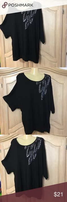 Designer apt.9 elegant blouse Elegant blouse with beautiful embroidered on the shoulder with small bends and sequins in purple color long sleeves and round neckline size 1xl  100% rayon Apt. 9 Tops Blouses