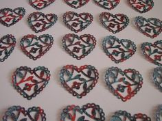 20 Scalloped Lace Heart Punch Die CutsRed by TomaCraftPlace, $4.75