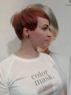 Short womans hair styles. Pixie cut. Copper pixie.