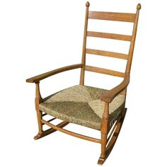 William Birch an Arts & Crafts Light Oak Rocking Chair with Newly Laid Rush Seat