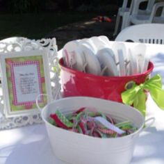 "Spa party. Make your own ribbon flip flops. Old navy flip flops. Ribbons precut in 6"" lengths"