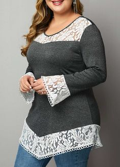 Plus Size Flare Sleeve Lace Patchwork T Shirt Plus Size T Shirts, Plus Size Blouses, Plus Size Tops, Spring Street Style, Blouse Dress, African Dress, Lace Tops, Cloths, Repurposed