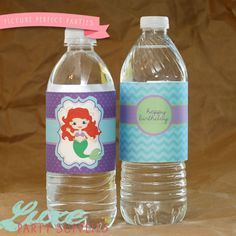 Little Mermaid Birthday Party Printable Water bottle Label, Ariel Birthday Party Supplies, Mermaid Birthday Supply, Princess Party, Girl Party supplies