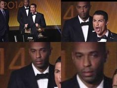 Słynny francuz podejrzanie stoi za Cristiano Ronaldo • Thierry Henry robi coś z tyłu Portugalczykowi podczas gali złotej piłki >> #henry #football #soccer #sports #pilkanozna #funny