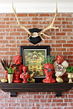 decorated busts! every room should have a bit of whimsy :)