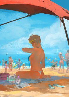 Beach, Wenting Zhou on ArtStation at https://artstation.com/artwork/beach-49cf37ee-eedb-482e-90e7-480157b9ef31