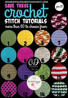 60 Crochet Stitch Tutorials You Need to Save for Later! Learn how to crochet these stitch patterns with step-by-step tutorials. Crochet Tutorial Thursdays at Oombawka Design. Learn To Crochet, Crochet Crafts, Crochet Yarn, Free Crochet, Tunisian Crochet, Chrochet, Crochet Flowers, Diy Crafts, Crochet Ripple