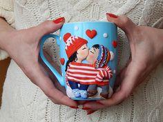 Незабываемый подарок ко дню Святого Валентина либо годовщине отношений!!!!Милая чашечка порадует вашу вторую половину и будет всегда напоминать о ... Cute Mug, Cool Mugs, Unique Coffee Mugs, Clay Crafts, Diy And Crafts, Arts And Crafts, Clay Cup, Polymer Clay Ornaments, Mug Art