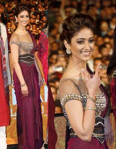 Ileana D'Cruz at Barfi. Ahh I love her sari-look gown! Beautiful Saree, Beautiful Indian Actress, Beautiful Dresses, Bollywood Stars, Bollywood Fashion, Bollywood Celebrities, Bollywood Actress, Indian Dresses, Indian Outfits