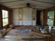 My Little Mobile Home Remodel, love the bathroom vanity they built.. need to do that! #mobilehomebathrooms