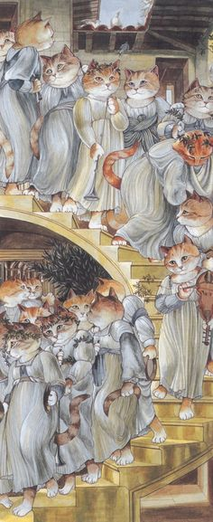 The Golden Stairs, after Sir Edward Burne-Jones Photo credit: By Susan Herbert. Courtesy of Thames & Hudson. Art And Illustration, Illustrations, I Love Cats, Crazy Cats, Edward Burne Jones, Cat Art Print, Gatos Cats, Classical Art, Beatrix Potter