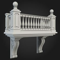 Balcony 001 by ThemeREX High quality polygonal model of balcony.max Max 2010 for separate models .max Max 2010 for the scene, Cornice Design, Window Design, Door Design, Classic House Exterior, Classic House Design, House Outside Design, House Front Design, Neoclassical Architecture, Architecture Details
