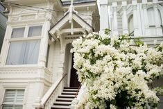 White home + flowers in San Francisco