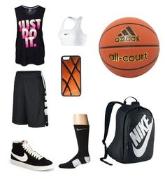 #Basketball by cmhartley ❤ liked on Polyvore featuring adidas, NIKE and CellPowerCases