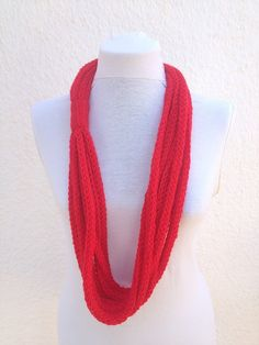 Red infinity scarf  wool chain necklace  Crochet by NesrinArt, $21.00
