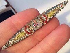 Vintage Art Deco Jewellery Gorgeous Micro Mosaic Flowers Brooch
