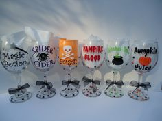 Halloween personalized wine glasses - Set of SIX - party favor - gift - party - Extra large size -mix and match. $50.00, via Etsy.