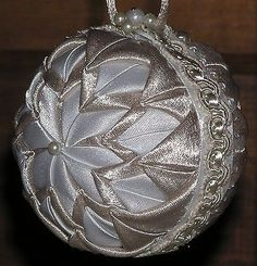 Handmade Quilted Christmas Ball Ornament - CHAMPAGNE GOLD