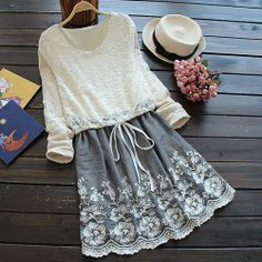 Image of [grzxy6601343]Long Sleeve Lace Shirt Embroidery Flowers Skirt Mock Two Piece Dress