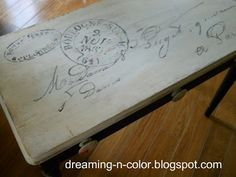 Piano bench re-do with French postcard graphic-Oh my goodness. Why havent I thought of repainting our piano bench???