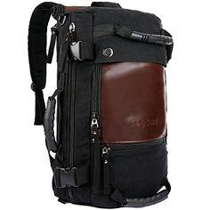 Ibagbar Canvas Backpack Travel Bag Hiking Bag Rucksack Du…