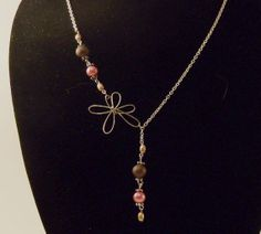 Pearl and Wire Flower Necklace by BeadJewelledDesign on Etsy, $25.00