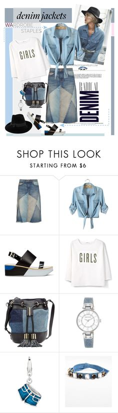 """""""Denim jacket and patchwork style"""" by ellie366 ❤ liked on Polyvore featuring Alima, Whiteley, Current/Elliott, Paul Smith, MANGO, See by Chloé, Anne Klein, Cara, Mademoiselle Slassi and Denimondenim"""
