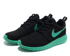 hot sale online 58b83 6c0ad Nike Roshe Run Women Black Green Mesh shoes