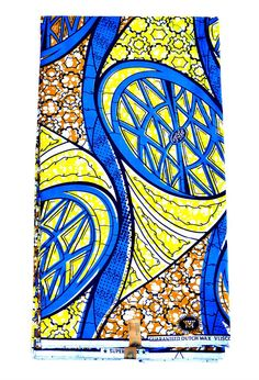 Blue And Yellow African Fabric For Sale African  by ZabbaDesigns
