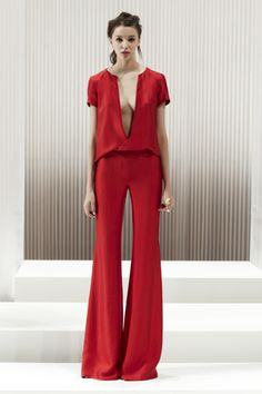 RED CRUSHED SATIN TWILL PLUNGE TEE RED CRUSHED SATIN TWILL FLARE PANT | WES GORDON SPRING 2013 COLLECTION