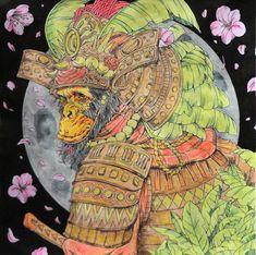 Nicholas F. Chandrawienata - Fantasia Monkey Samurai Coloured with Derwent AcademyAq., Derwent Metallic Aq