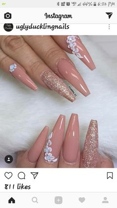 25 Pretty acryl doodskist nagels ontwerp, dat je moet proberen 3 - Coffin Nail Design Ideas - 25 Pretty Acryl Coffin Nails Ontwerp U moet proberen 3 25 Pretty acryl doodskist nagels te ontwerpen moet je proberen * remajacantik Aycrlic Nails, Glam Nails, Fancy Nails, Pink Nails, Coffin Nails, Cute Nails, Pretty Nails, Nails 2016, Nail Nail