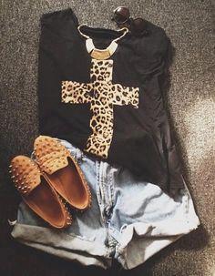 Conjunto de roupa Cruz leopardo Sabrina camel