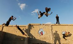 Flying through the air, Palestinian youths practice parkour - PhotoBlog