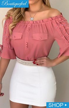 Off Shoulder Beaded Frill Hem Blouse Women Fashion Summer Outfits Trendy Outfits Outfit Ideas Sexy Blouse Styles, Blouse Designs, Blouse Patterns, Shoulder Off, Trend Fashion, Latest Fashion, Women's Fashion, Womens Fashion Online, Pattern Fashion