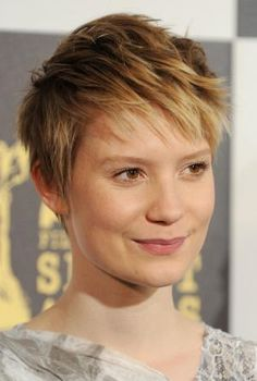 The pixie is one of the hottest hairstyles of the moment. See which cuts are most popular and which face shapes and hair textures work with a pixie.: Mia Wasikowska