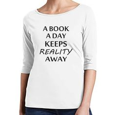 A Book a Day Keeps Reality Away Bookworm Shirt Reading Shirt Book Nerd... ($25) ❤ liked on Polyvore featuring tops, black, women's clothing, black top, black three quarter sleeve shirt, 3/4 sleeve tops, 3/4 length sleeve shirts and silver metallic top