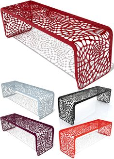 The Coral Bench by Arktura is made with durable laser-cut and powder-coated steel available in your choice of color.