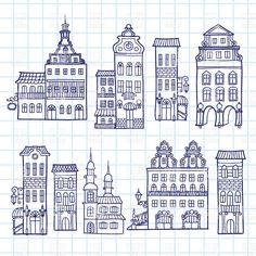 Sketchy hand drawn town templates - outlines of houses facades Vector Image – Vector illustration of Architecture, Buildings © bariskina House Sketch, House Drawing, Haus Vektor, Line Drawing, Painting & Drawing, House Doodle, Image Clipart, Image Vector, Vector Clipart