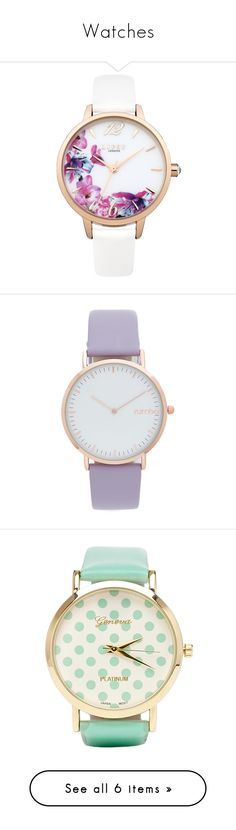 """""""Watches"""" by rosky ❤ liked on Polyvore featuring jewelry, watches, accessories, floral jewelry, analog watch, floral watches, white jewelry, white watches, rumbatime watches and slim watches"""