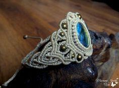 Micro Macrame Boho Cuff Labradorite Bracelet Bohemian Gypsy