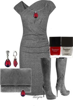 """Pop of Red"" by elayne-forgie on Polyvore"