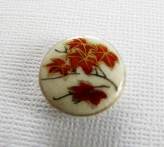 Vintage Satsuma Button Red Maple Leaves by ButtonsFromTheAttic