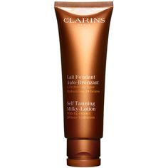 Clarins Self Tanning Milky-Lotion For Face and Body ($38) ❤ liked on Polyvore featuring beauty products, bath & body products, sun care, beauty, beauty color self tanner and clarins